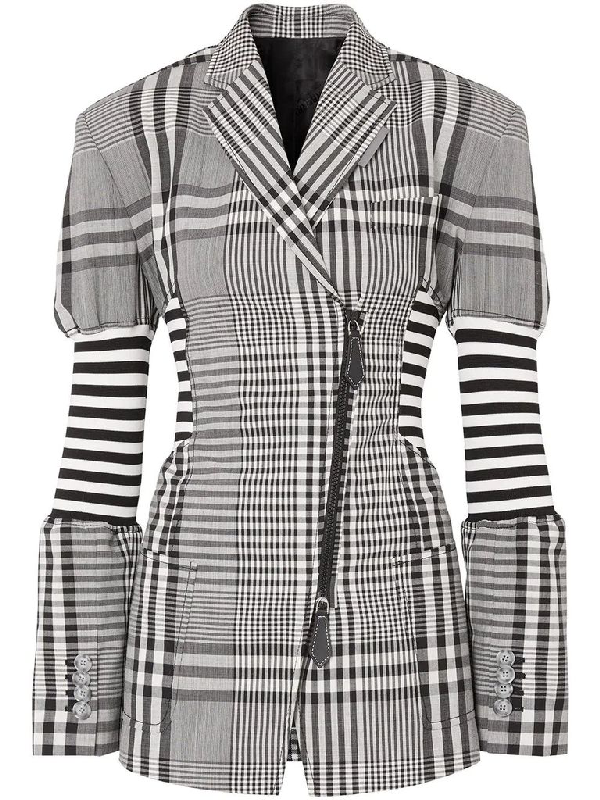 Burberry Check Wool Bend Tailored Blazer In Black