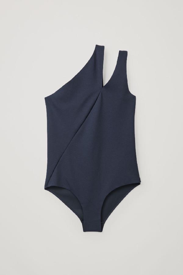Cos Asymmetric Swimsuit In Blue