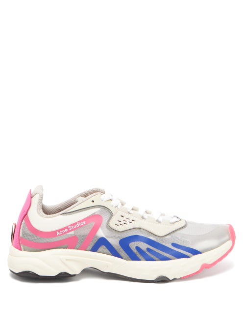 Acne Studios Ripstop Sneakers In White With Blue And Pink Details In Neutrals