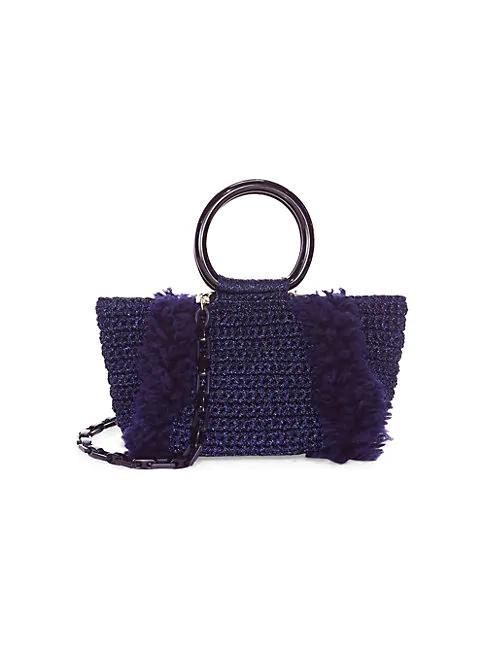 Saks Fifth Avenue Crochet Satchel In Gold Tortoise