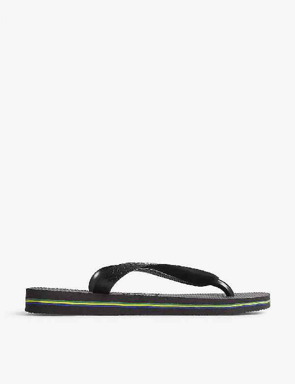 Havaianas Brazil Logo Rubber Flip-flops In Black