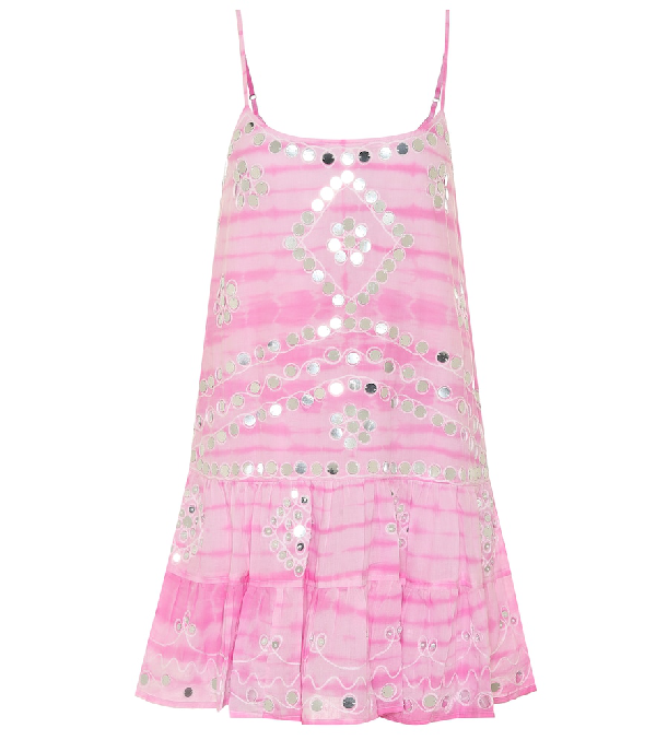 Juliet Dunn Exclusive To Mytheresa - Embellished Cotton Minidress In Pink