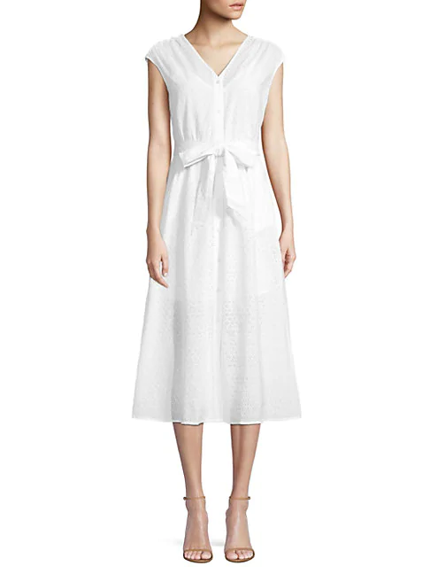 Draper James Lace Eyelet A-line Dress In Willow White
