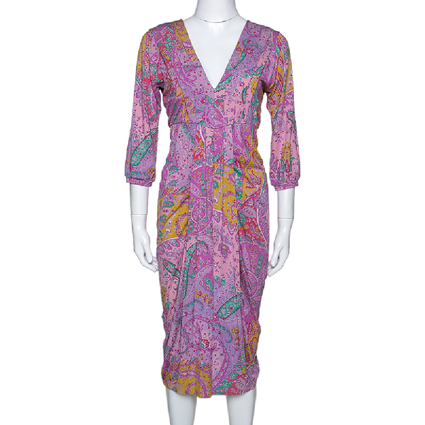 Etro Multicolor Cotton Watercolor Paisley Printed Dress L