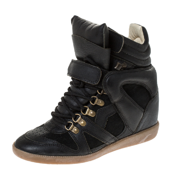 Isabel Marant Black Leather And Suede Trim Tibetan Sneakers Size 37