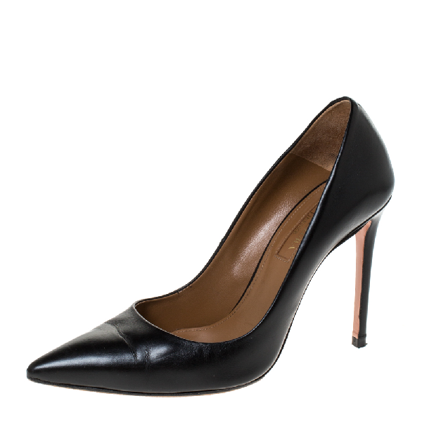 Aquazzura Black Leather Pointed Toe Pumps Size 35.5