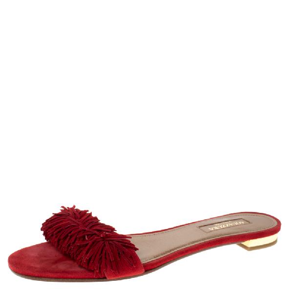 Aquazzura Red Suede Leather Wild Thing Fringe Flat Slide Size 37