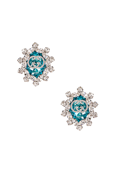 Gucci Colored Crystal Earrings In Green