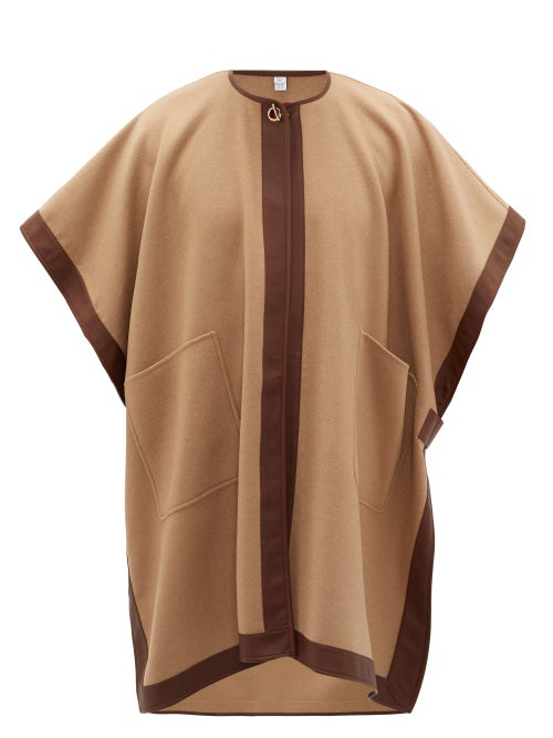 Burberry Pyecombe Leather-trimmed Cashmere Cape In Neutrals