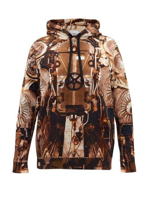 Burberry Wilcox Submarine-print Cotton Hooded Sweatshirt In 棕色
