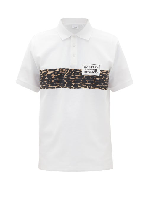 Burberry Somerville Leopard Stripe Short Sleeve Pique Polo In White