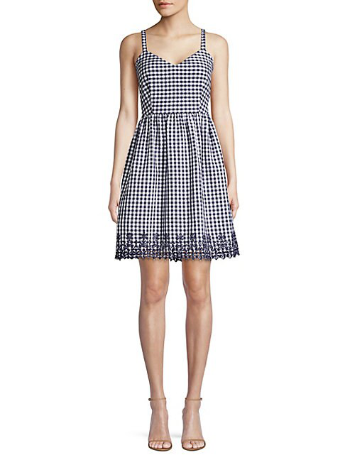 Draper James Embroidered Gingham A-line Dress In Nassau Navy