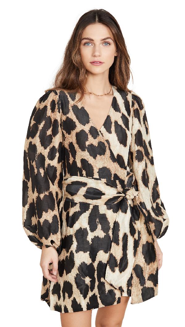 Ganni Leopard-print Linen And Silk-blend Wrap Mini Dress In Brown