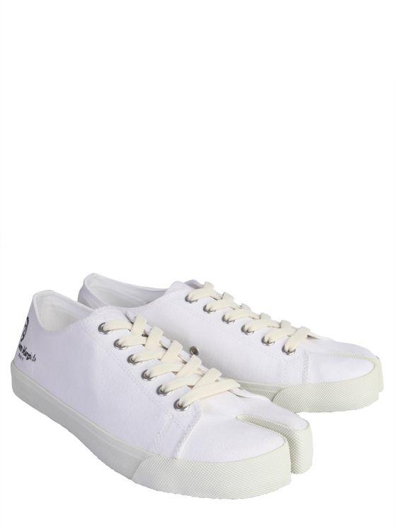 Maison Margiela Tabi Split-toe Low-top Leather Trainers In White