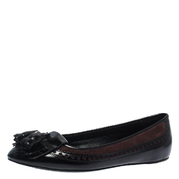 Burberry Black Brogue Leather Tassel Fringe Ballet Flats Size 41