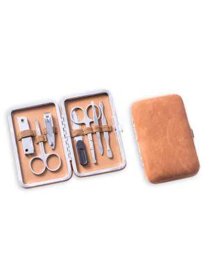 Bey-berk 9-piece Suede & Stainless Steel Manicure Set In Tan