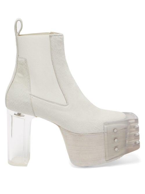 Rick Owens Kiss Plexi-heel Calf-hair Platform Boots In Chalk White