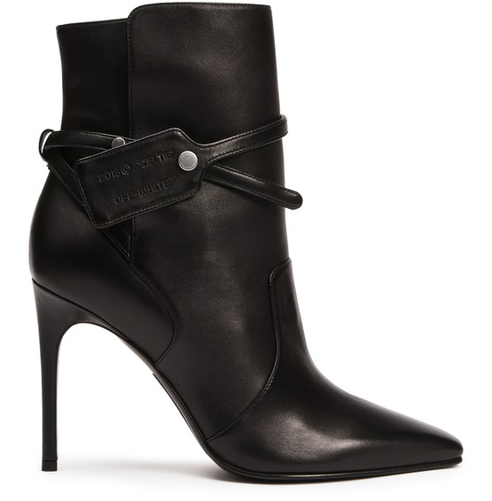 Off-white Leather Tag Ankle Boots In Black