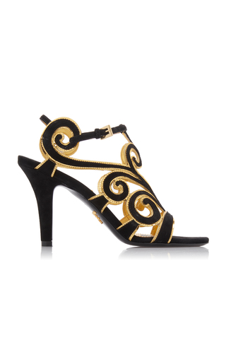 Prada Suede And Metallic Leather Sandals In Black
