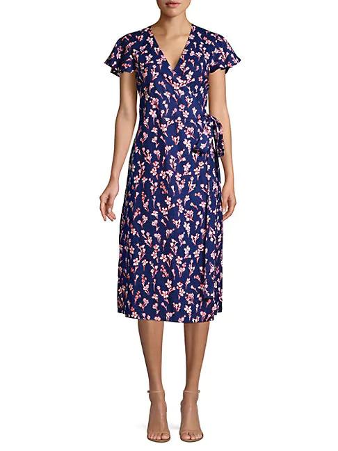 Draper James Floral Linen Wrap Dress In Nassau Navy