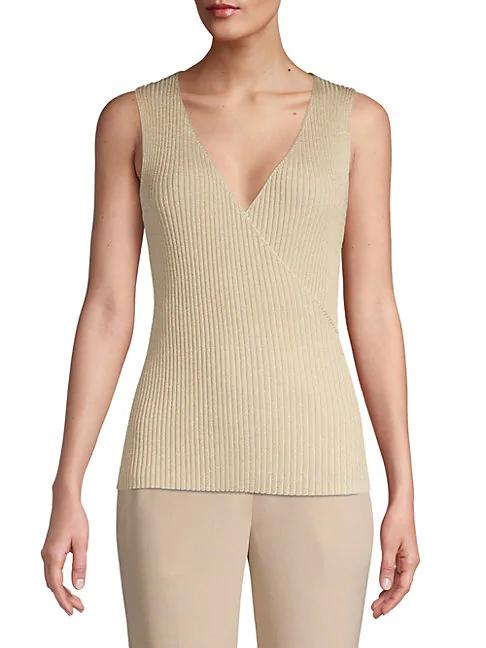 Elie Tahari Rudie V-neck Rib-knit Sleeveless Sweater In Gold