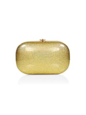 Jeffrey Levinson Elina Plus Stardust Clutch In Gold