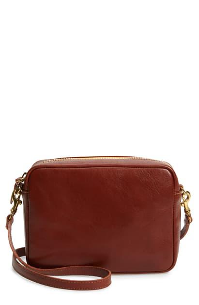 Clare V Midi Sac Leather Crossbody Bag In Mahogony Rustic