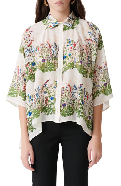 Maje Floral Print Silk Button-up Shirt In Ecru / Green