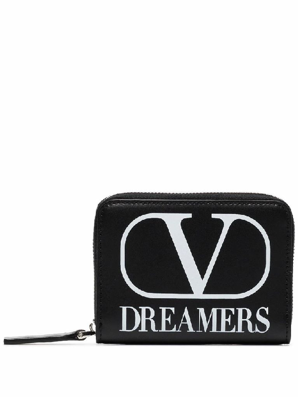 Valentino Garavani Vlogo Dreamers Cardholder Pouch With Neck Strap In Black,white