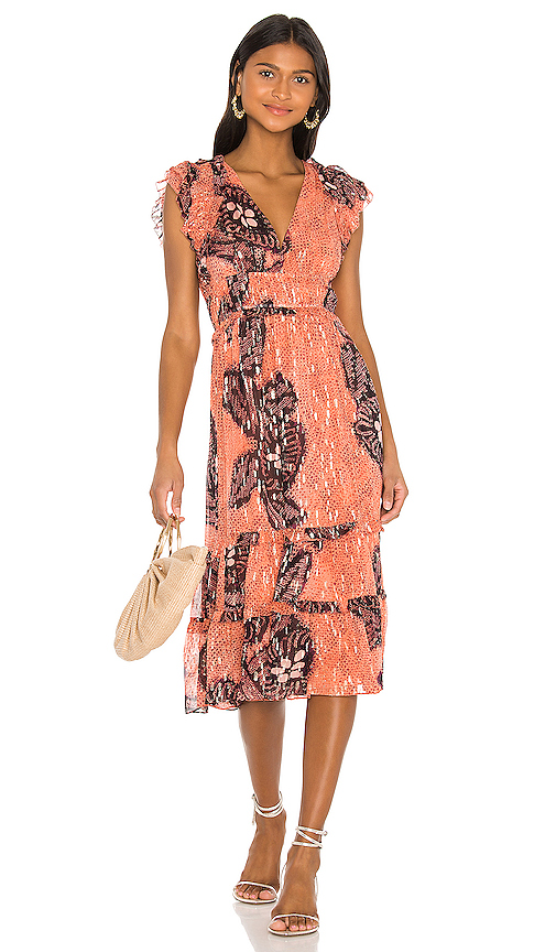 Ulla Johnson Akira Metallic Silk Dress In Coral