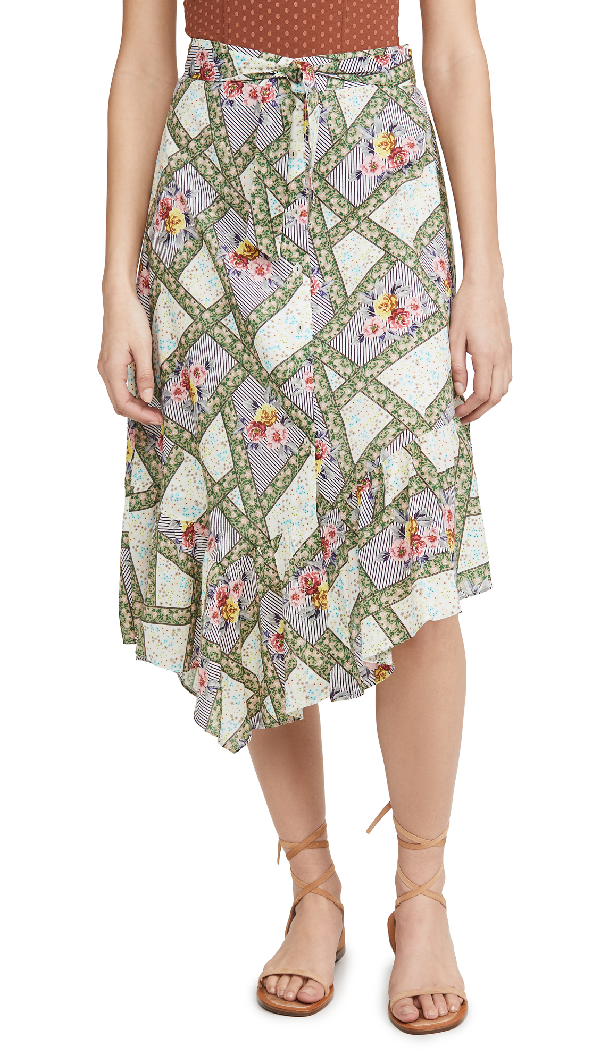 Playa Lucila Printed Skirt In Green Multi Floral