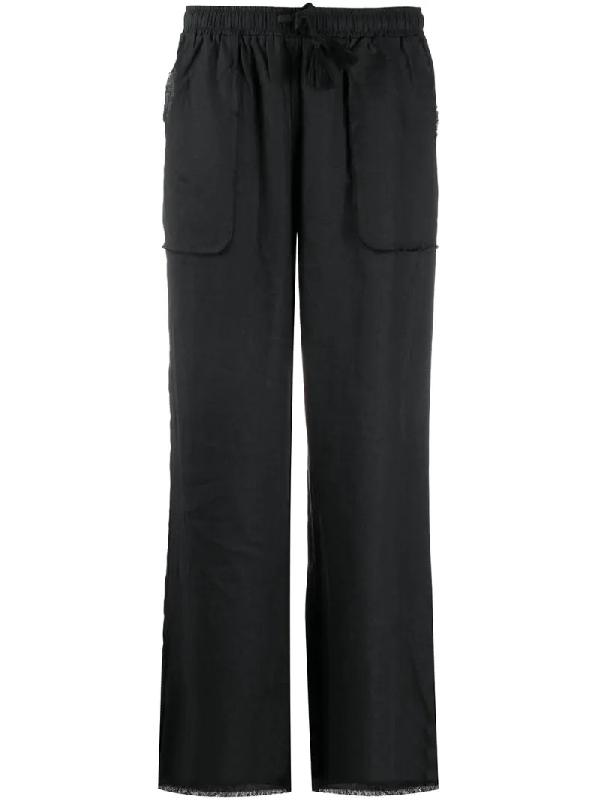 Gold Hawk Raw-edge Straight Leg Trousers In Black
