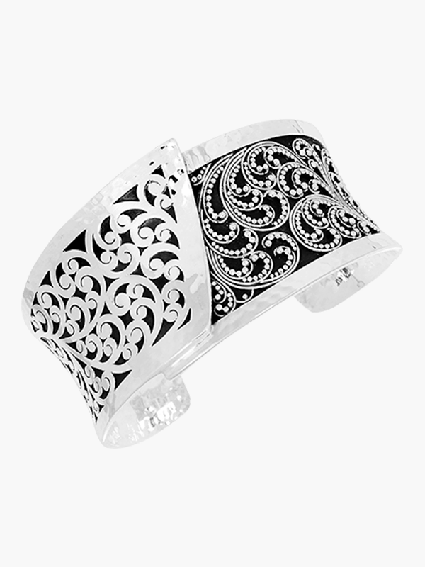 Lois Hill Hand Carved Overlapping Cuff Bracelet In Black/silver