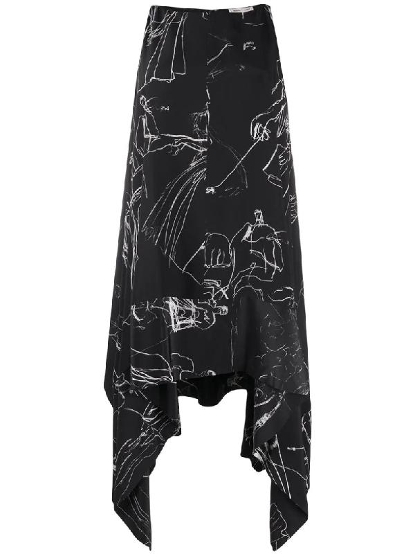 Alexander Mcqueen Dancing Girl Asymmetric Dress In Black