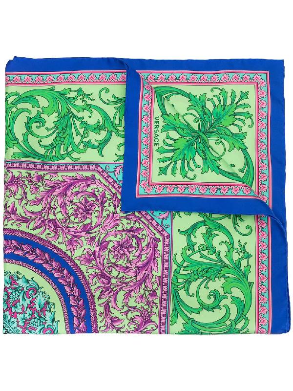 Versace Baroque Print Scarf In Multicolour