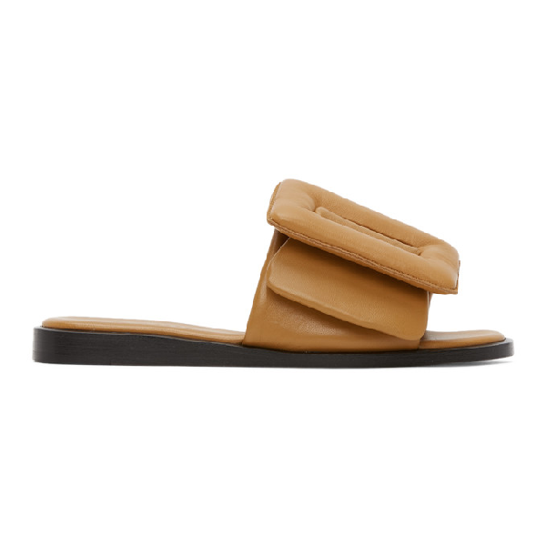 Boyy Tan Puffy Buckle Sandals