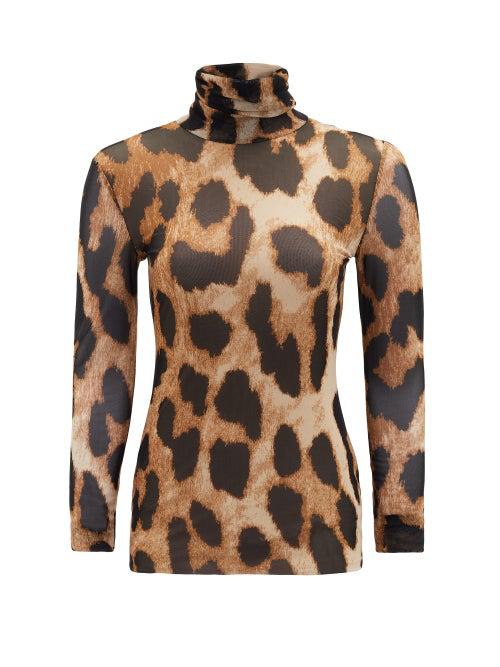 Ganni Leopard-print Mesh Turtleneck Top In 994 Maxi Le
