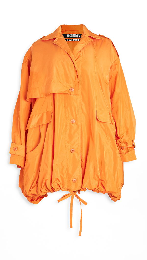 Jacquemus La Parka Ouro Trench Waterproof In Orange