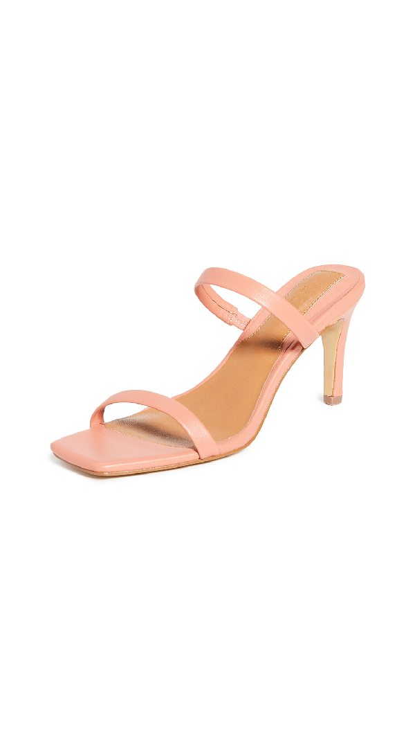 Jaggar Two Strap Leather Heel In Coral