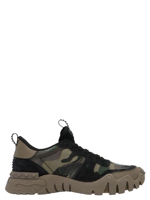 Valentino Garavani Garavani Rockrunner Plus Camouflage Sneakers In Green
