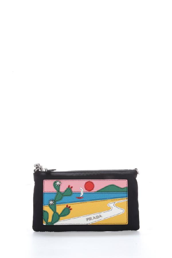Prada Logo Patch Clutch Bag In Black