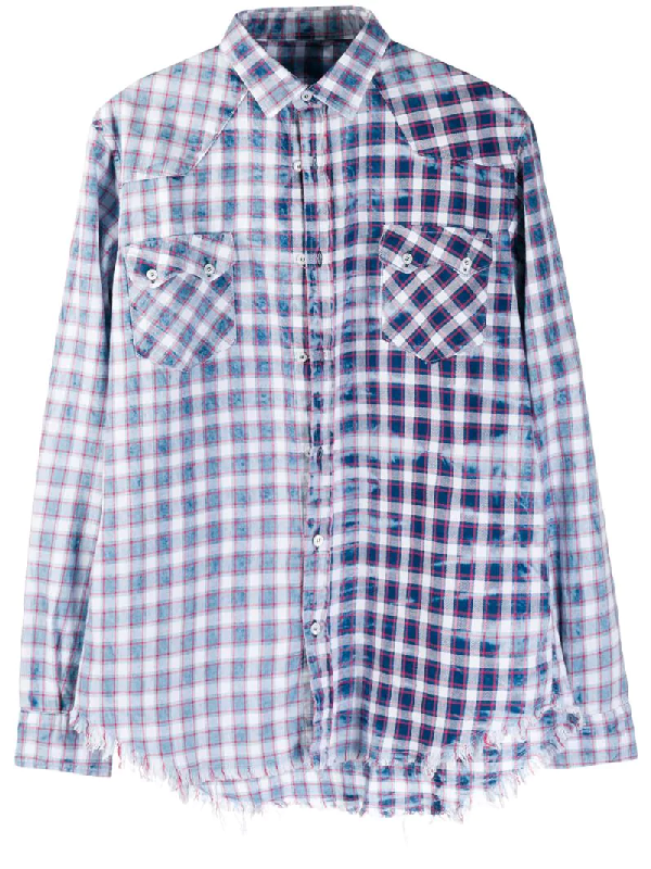 Family First Check-print Frayed Shirt In Blue