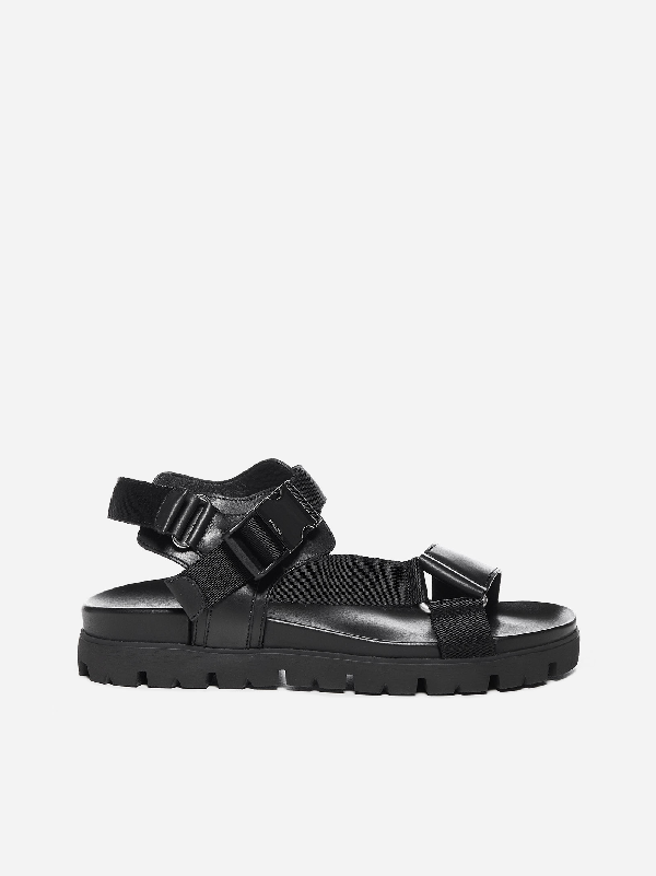 Prada Montana Leather And Nylon Sandals In Black