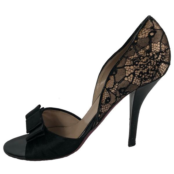 Emanuel Ungaro Black Leather Heels
