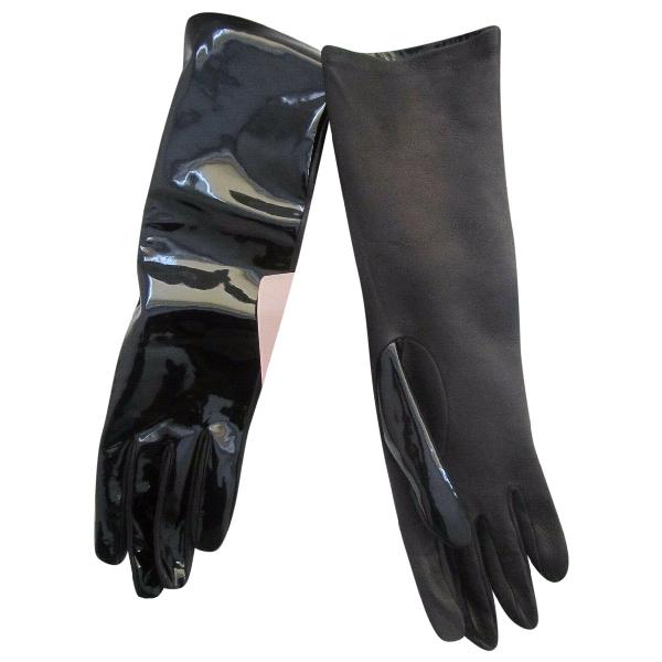Christopher Kane Black Patent Leather Gloves