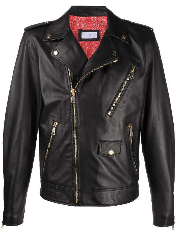 Family First Fitted Biker Jacket In Black