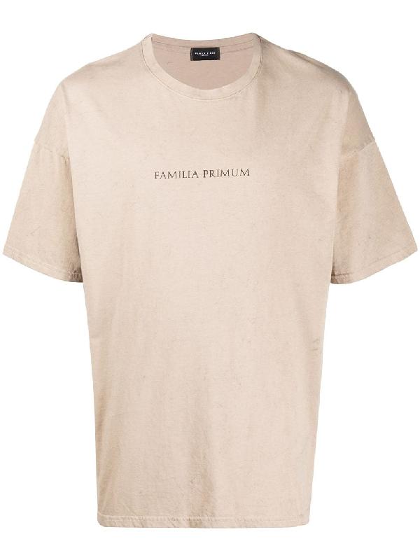 Family First Crew-neck Logo T-shirt In Neutrals