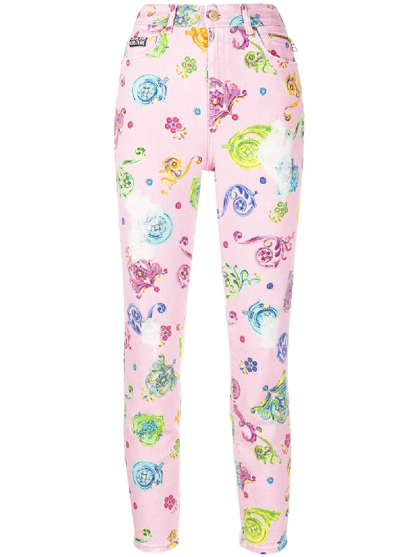 Versace Jeans Couture High Rise Floral Print Skinny Jeans In Pink