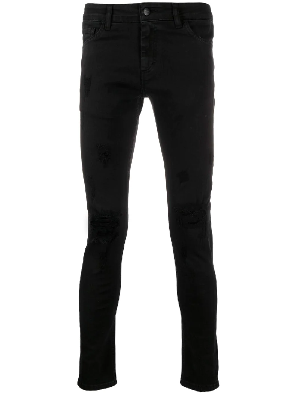 Family First Skinny-jeans In Distressed-optik In Black