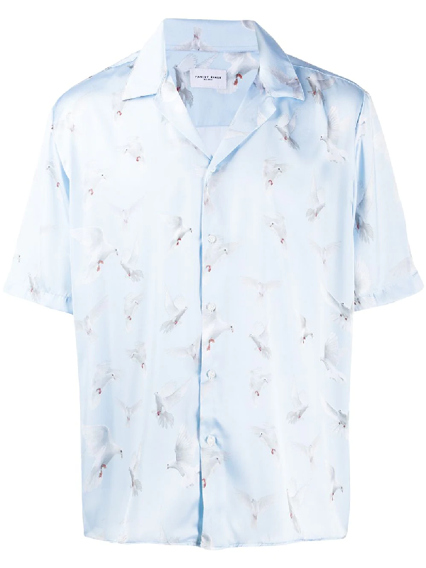 Family First Dove Print Satin Shirt In Blue